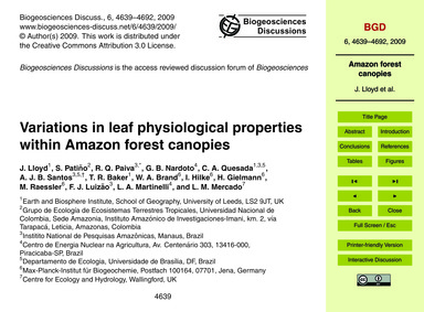 Variations in Leaf Physiological Propert... by Lloyd, J.