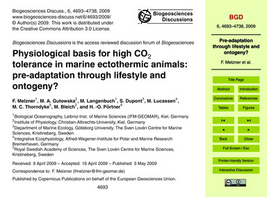 Physiological Basis for High Co2 Toleran... by Melzner, F.
