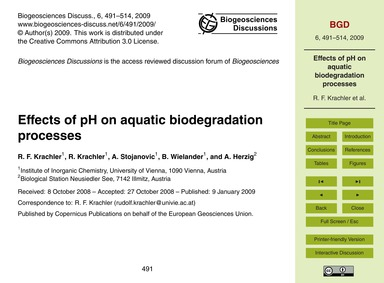 Effects of Ph on Aquatic Biodegradation ... by Krachler, R. F.