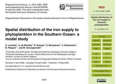 Spatial Distribution of the Iron Supply ... by Lancelot, C.