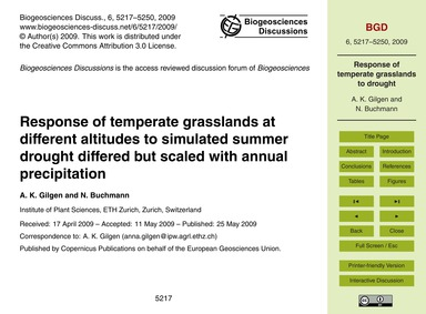 Response of Temperate Grasslands at Diff... by Gilgen, A. K.