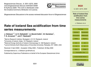 Rate of Iceland Sea Acidification from T... by Olafsson, J.