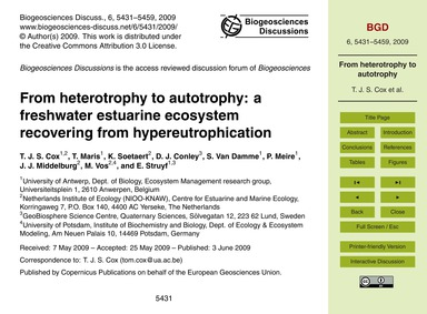 From Heterotrophy to Autotrophy: a Fresh... by Cox, T. J. S.