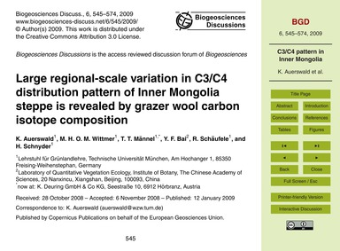 Large Regional-scale Variation in C3/C4 ... by Auerswald, K.