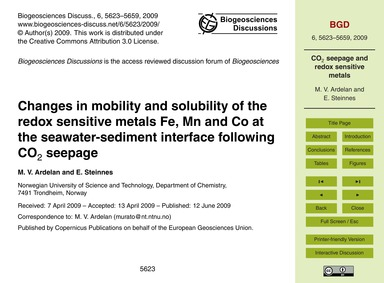 Changes in Mobility and Solubility of th... by Ardelan, M. V.