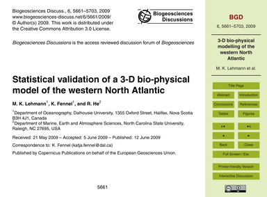 Statistical Validation of a 3-d Bio-phys... by Lehmann, M. K.