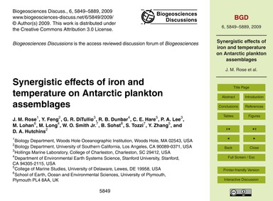 Synergistic Effects of Iron and Temperat... by Rose, J. M.