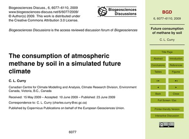 The Consumption of Atmospheric Methane b... by Curry, C. L.