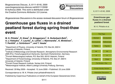 Greenhouse Gas Fluxes in a Drained Peatl... by Pihlatie, M. K.