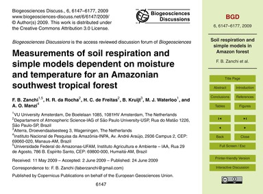 Measurements of Soil Respiration and Sim... by Zanchi, F. B.