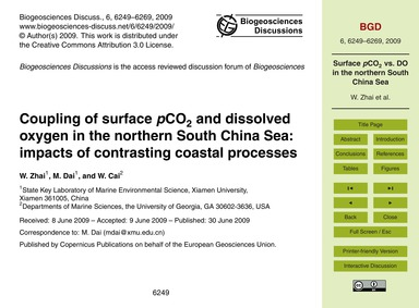 Coupling of Surface PCo2 and Dissolved O... by Zhai, W.