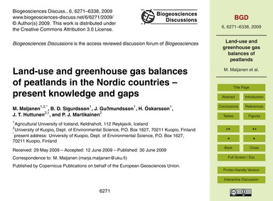 Land-use and Greenhouse Gas Balances of ... by Maljanen, M.
