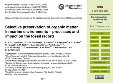 Selective Preservation of Organic Matter... by Zonneveld, K. A. F.