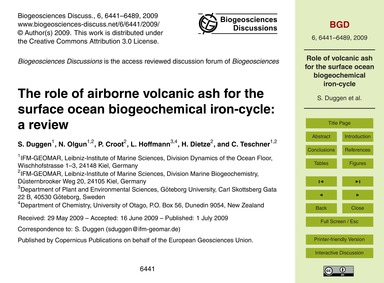 The Role of Airborne Volcanic Ash for th... by Duggen, S.