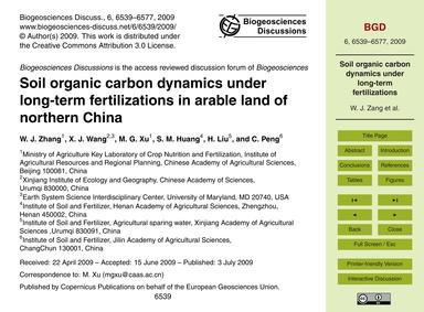 Soil Organic Carbon Dynamics Under Long-... by Zhang, W. J.