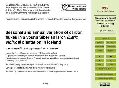 Seasonal and Annual Variation of Carbon ... by Bjarnadottir, B.
