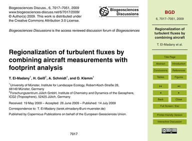 Regionalization of Turbulent Fluxes by C... by El-madany, T.