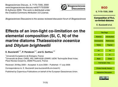 Effects of an Iron-light Co-limitation o... by Bucciarelli, E.