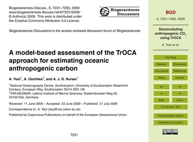 A Model-based Assessment of the Troca Ap... by Yool, A.