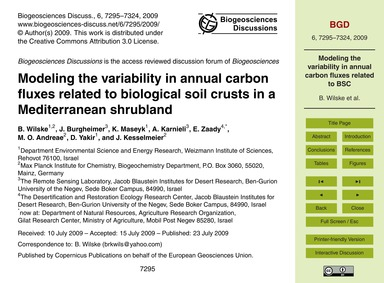 Modeling the Variability in Annual Carbo... by Wilske, B.