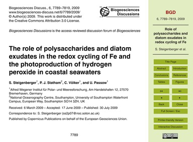 The Role of Polysaccharides and Diatom E... by Steigenberger, S.