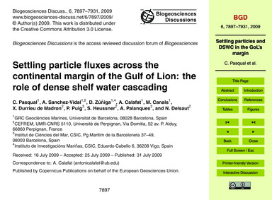 Settling Particle Fluxes Across the Cont... by Pasqual, C.