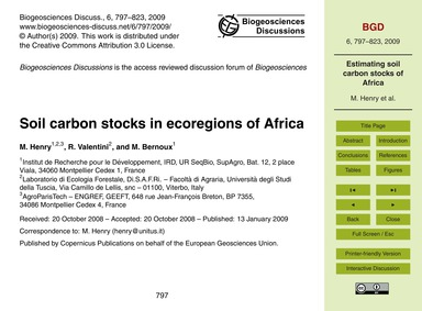 Soil Carbon Stocks in Ecoregions of Afri... by Henry, M.