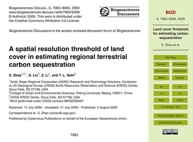A Spatial Resolution Threshold of Land C... by Zhao, S.