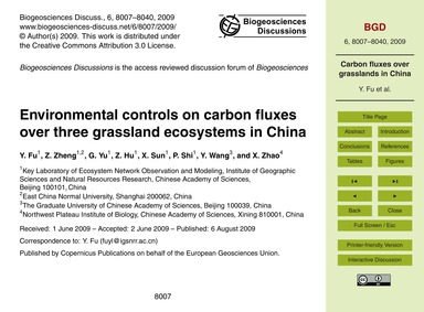 Environmental Controls on Carbon Fluxes ... by Fu, Y.