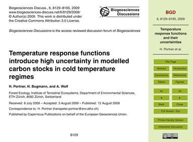 Temperature Response Functions Introduce... by Portner, H.