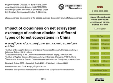 Impact of Cloudiness on Net Ecosystem Ex... by Zhang, M.