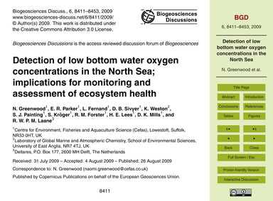 Detection of Low Bottom Water Oxygen Con... by Greenwood, N.