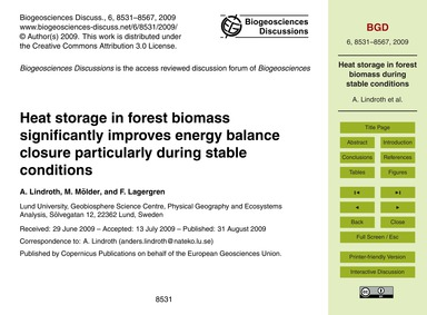 Heat Storage in Forest Biomass Significa... by Lindroth, A.