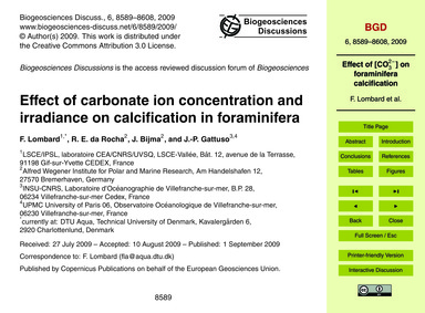 Effect of Carbonate Ion Concentration an... by Lombard, F.