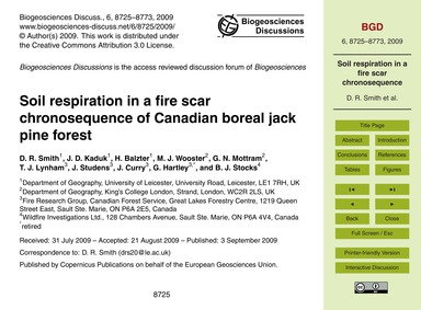 Soil Respiration in a Fire Scar Chronose... by Smith, D. R.