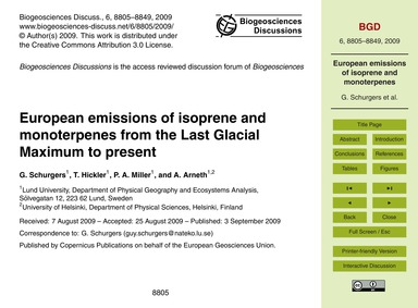 European Emissions of Isoprene and Monot... by Schurgers, G.