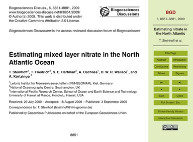 Estimating Mixed Layer Nitrate in the No... by Steinhoff, T.