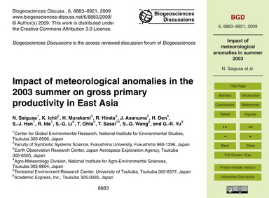 Impact of Meteorological Anomalies in th... by Saigusa, N.
