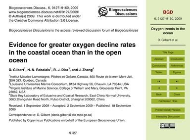 Evidence for Greater Oxygen Decline Rate... by Gilbert, D.