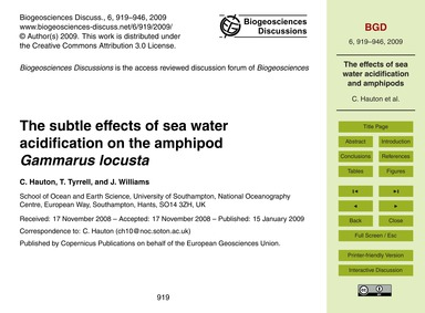 The Subtle Effects of Sea Water Acidific... by Hauton, C.
