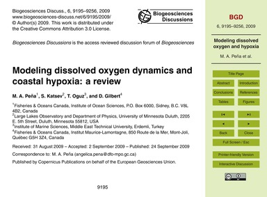 Modeling Dissolved Oxygen Dynamics and C... by Peña, M. A.