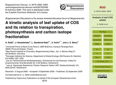A Kinetic Analysis of Leaf Uptake of Cos... by Seibt, U.