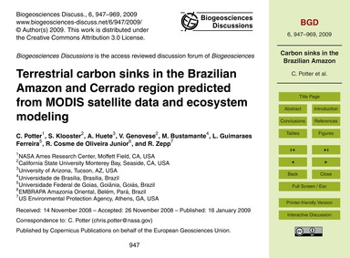 Terrestrial Carbon Sinks in the Brazilia... by Potter, C.