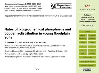Rates of Biogeochemical Phosphorus and C... by Zehetner, F.