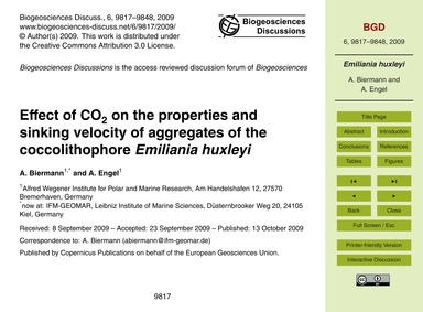 Effect of Co2 on the Properties and Sink... by Biermann, A.