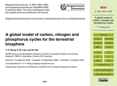 A Global Model of Carbon, Nitrogen and P... by Wang, Y. P.