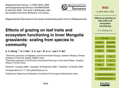 Effects of Grazing on Leaf Traits and Ec... by Zheng, S. X.