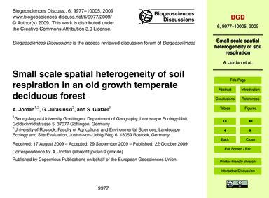 Small Scale Spatial Heterogeneity of Soi... by Jordan, A.