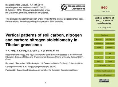 Vertical Patterns of Soil Carbon, Nitrog... by Yang, Y. H.