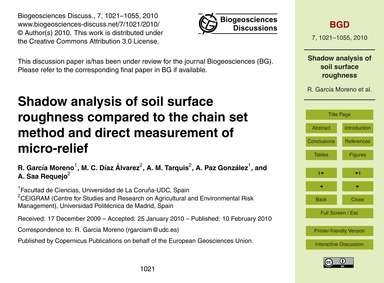Shadow Analysis of Soil Surface Roughnes... by García Moreno, R.
